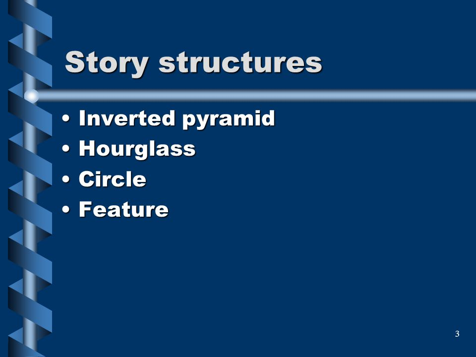 Story structures Inverted pyramid Hourglass Circle Feature