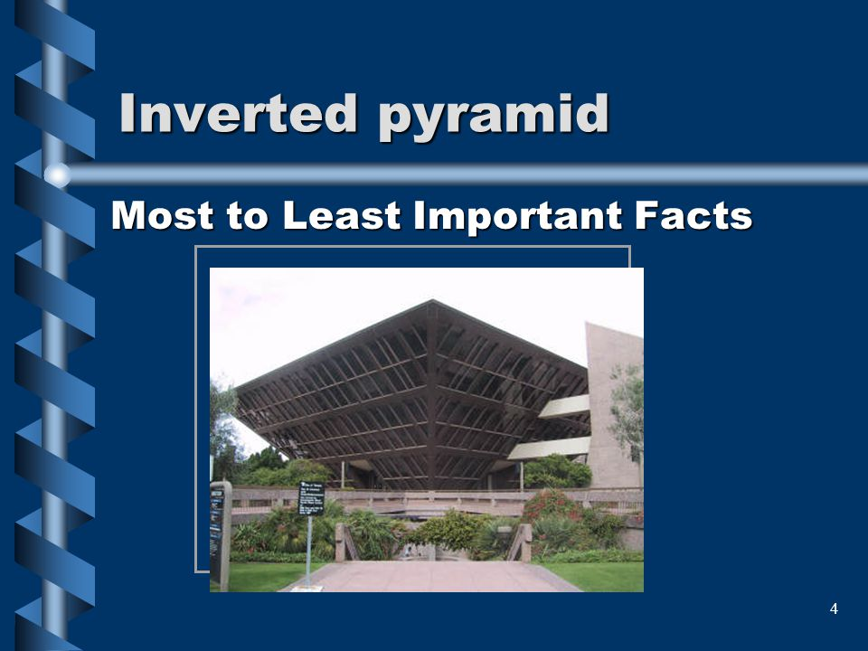 Inverted pyramid Most to Least Important Facts.