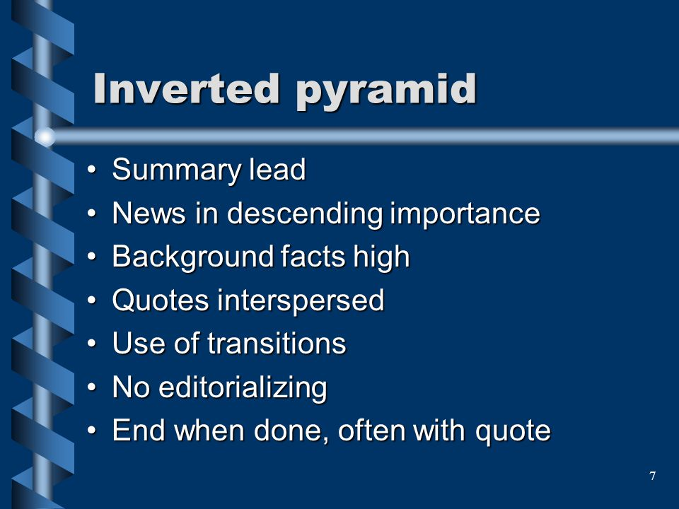 Inverted pyramid Summary lead News in descending importance