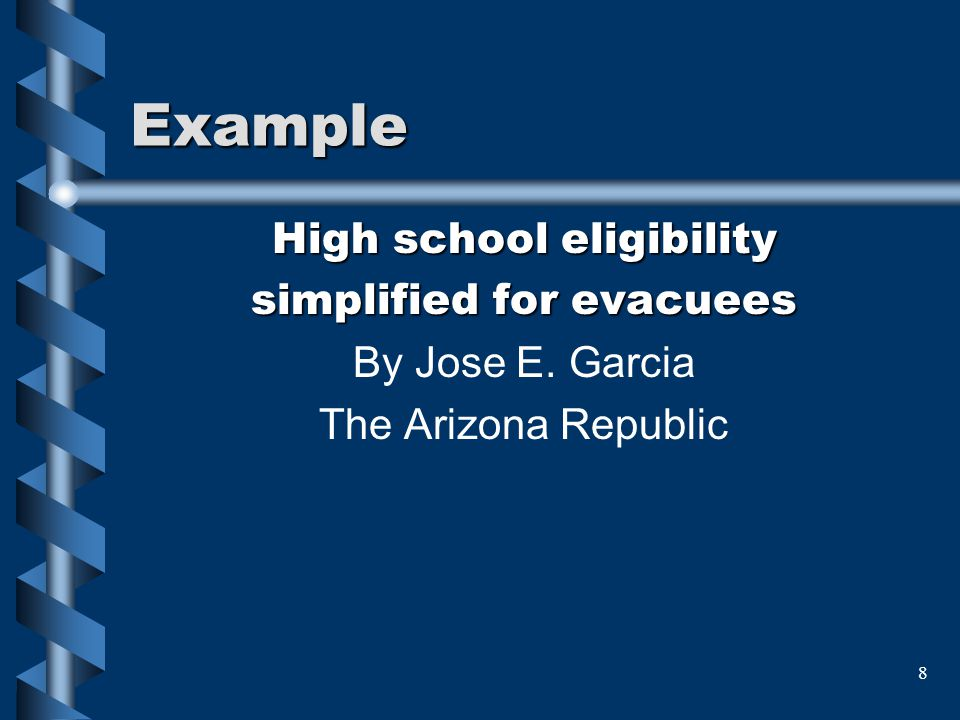 Example High school eligibility simplified for evacuees