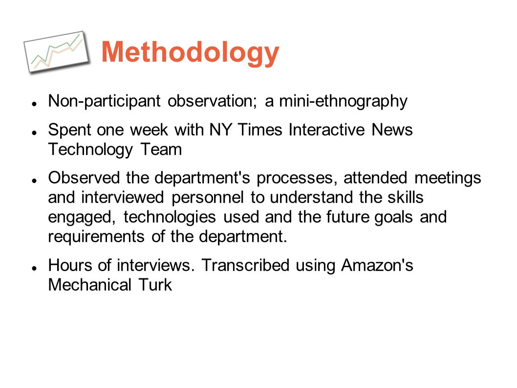 Methodology Non-participant observation; a mini-ethnography