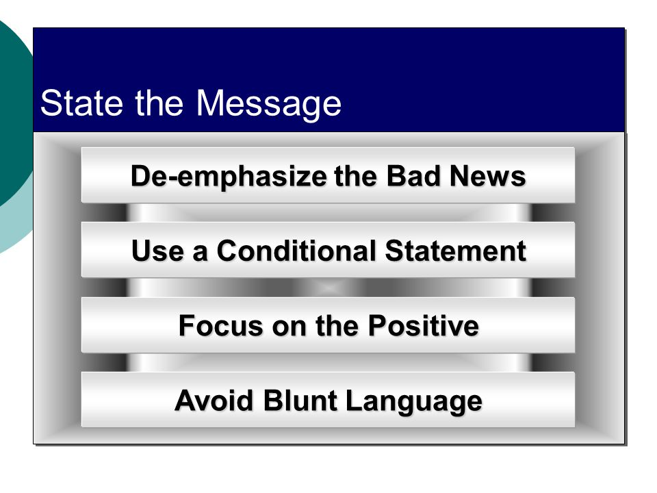 De-emphasize the Bad News Use a Conditional Statement
