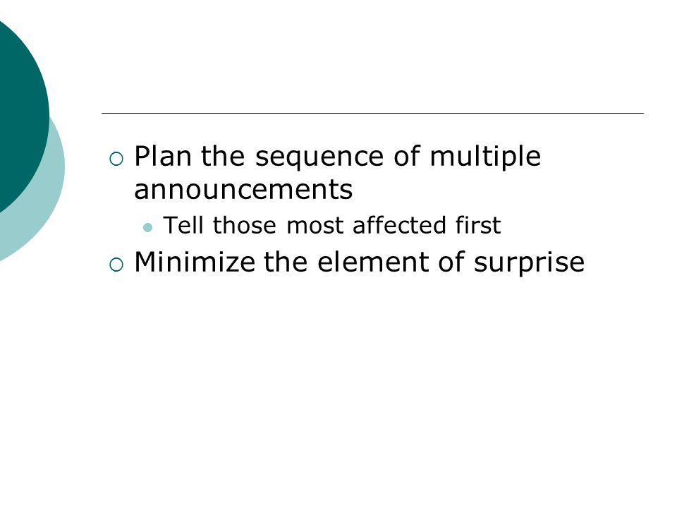 Plan the sequence of multiple announcements