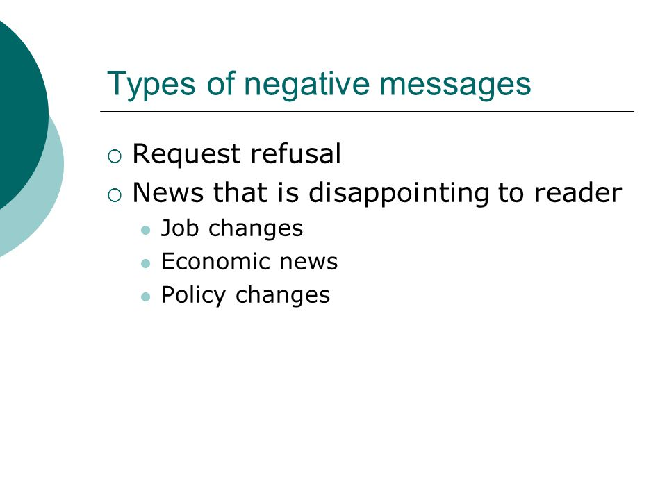 Types of negative messages