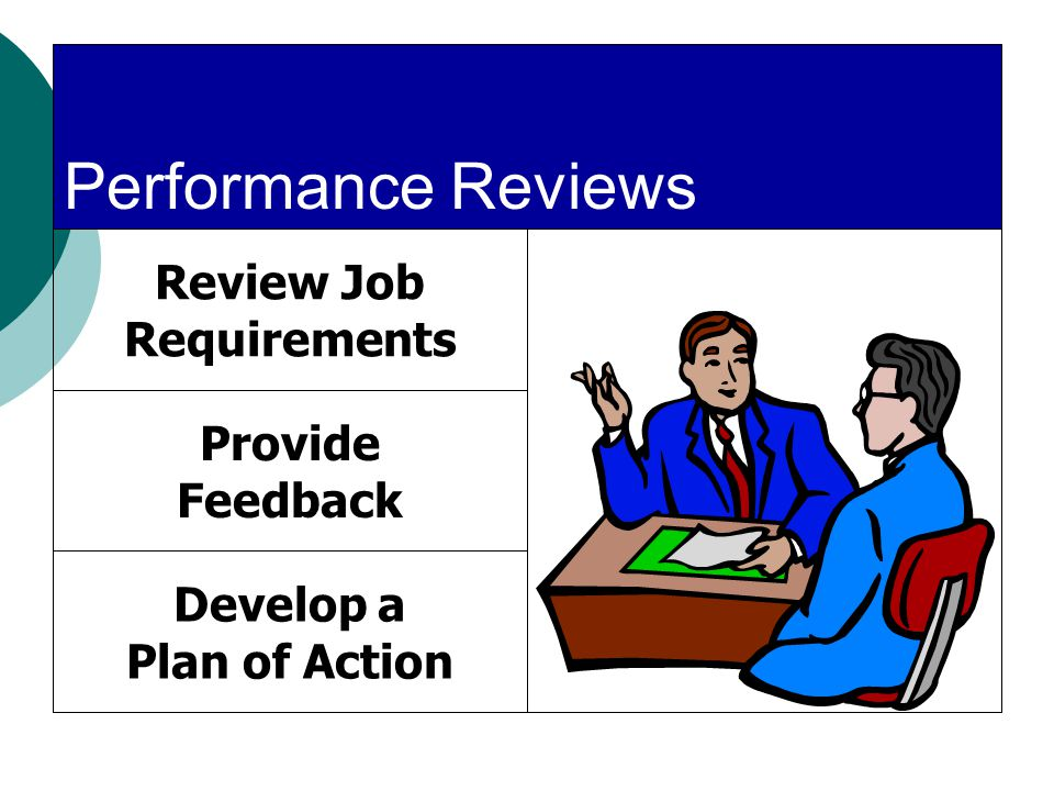 Performance Reviews Review Job Requirements Provide Feedback Develop a