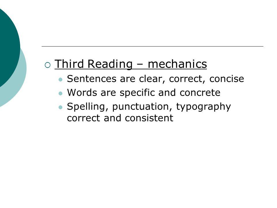 Third Reading – mechanics