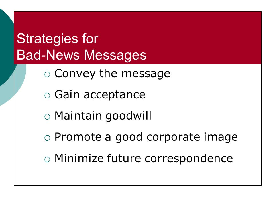 Strategies for Bad-News Messages