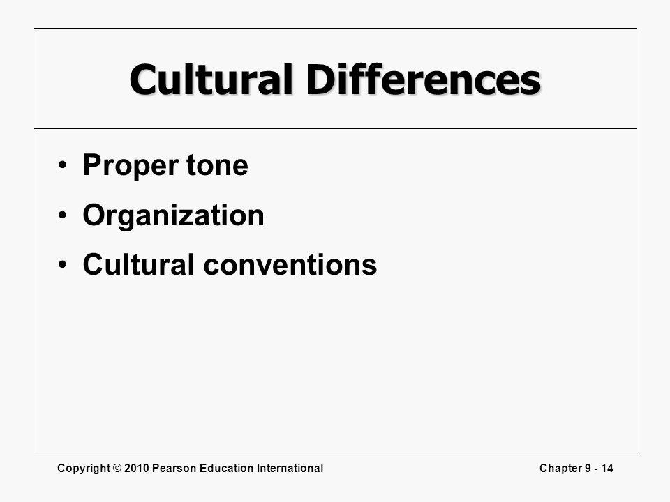 Cultural Differences Proper tone Organization Cultural conventions