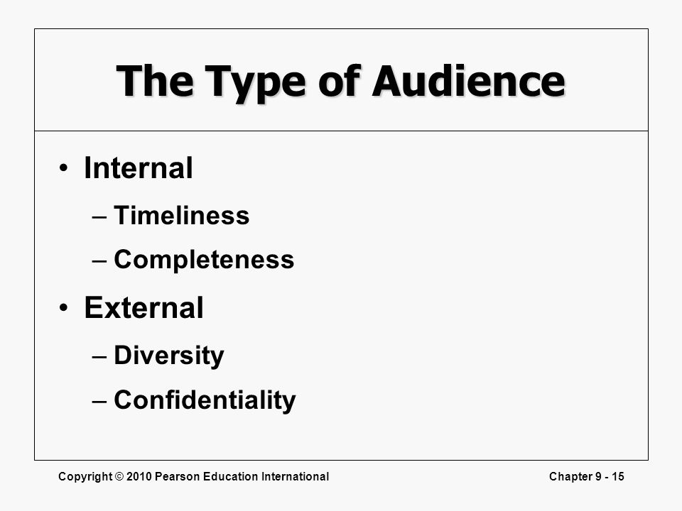 The Type of Audience Internal External Timeliness Completeness