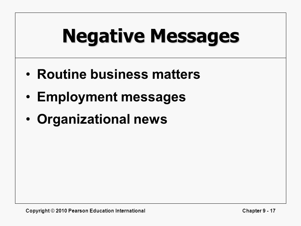 Negative Messages Routine business matters Employment messages
