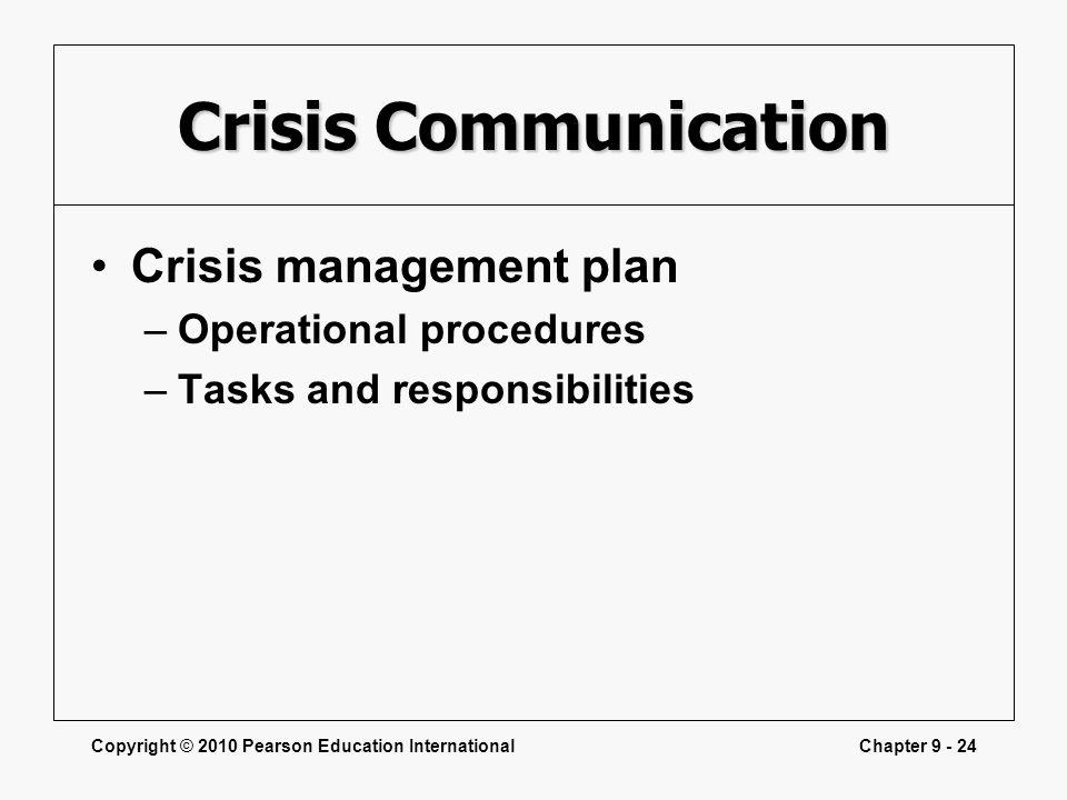 Crisis Communication Crisis management plan Operational procedures