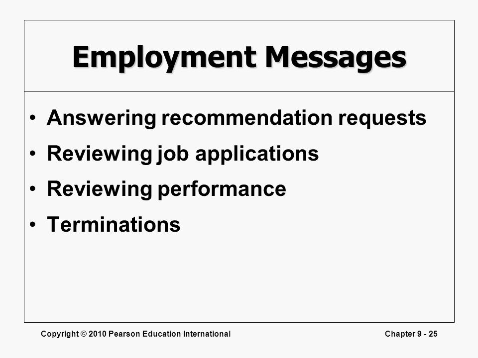 Employment Messages Answering recommendation requests