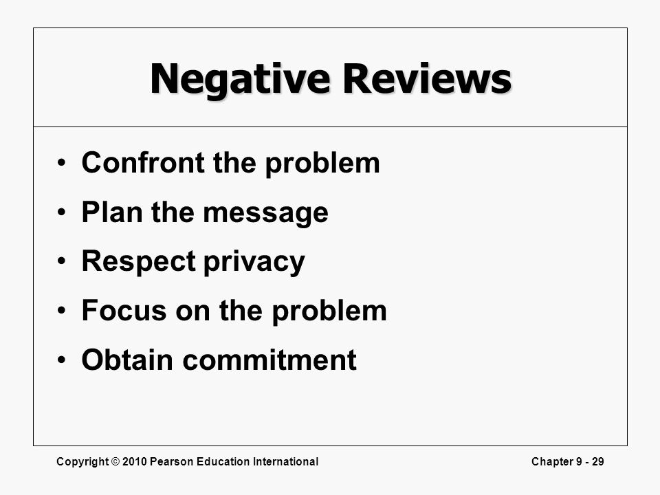 Negative Reviews Confront the problem Plan the message Respect privacy