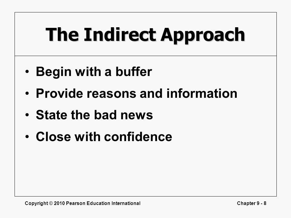 The Indirect Approach Begin with a buffer