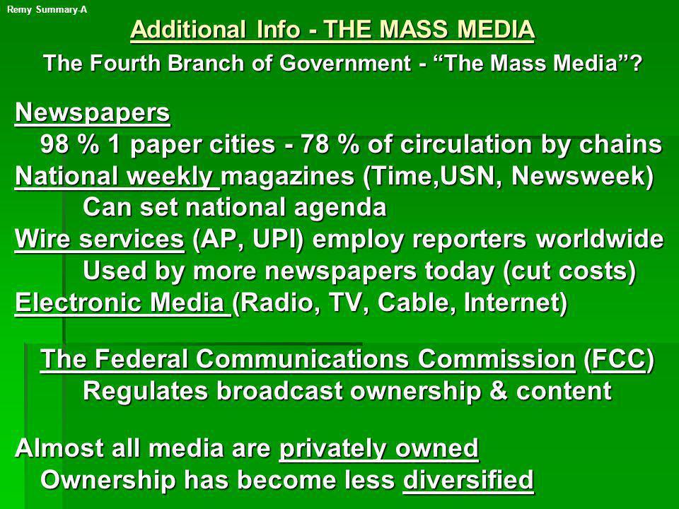Additional Info - THE MASS MEDIA