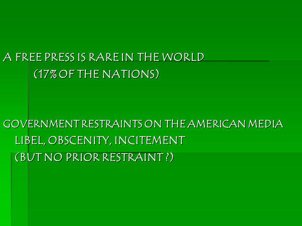 A FREE PRESS IS RARE IN THE WORLD (17% OF THE NATIONS)