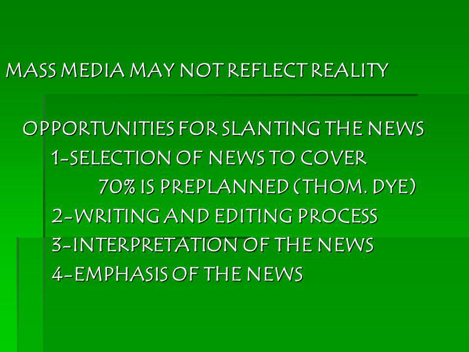 MASS MEDIA MAY NOT REFLECT REALITY