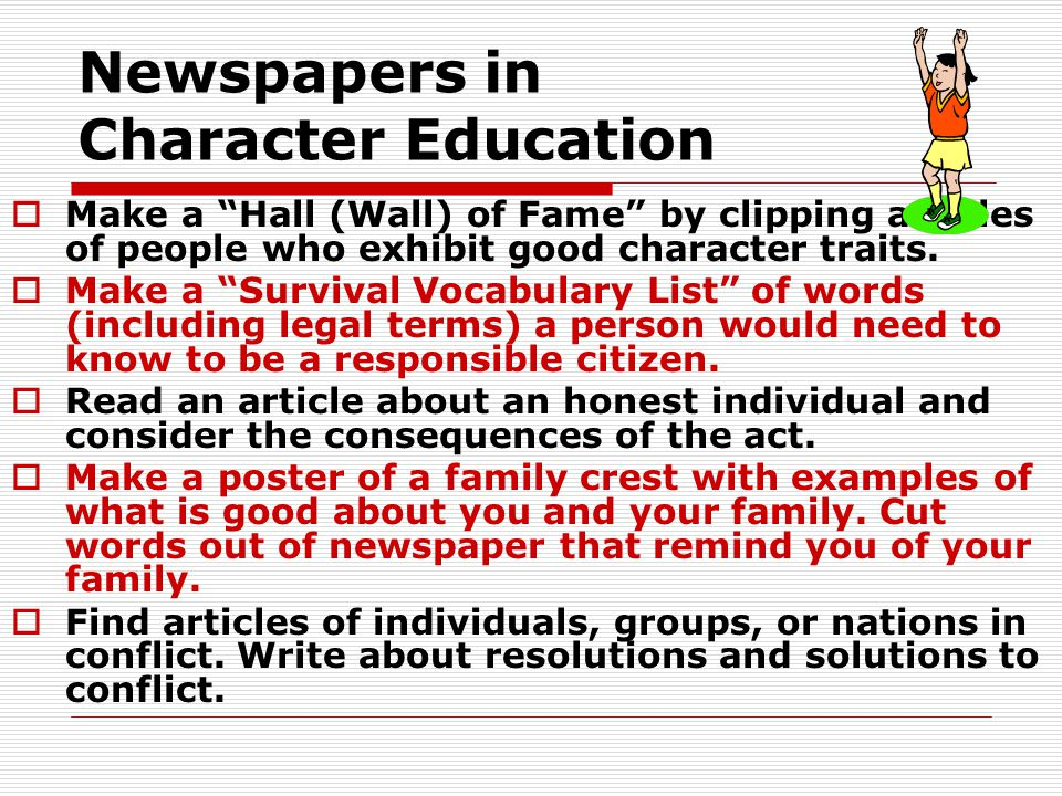 Newspapers in Character Education