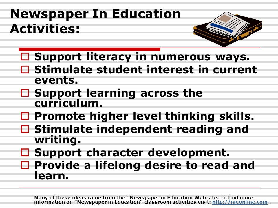 Newspaper In Education Activities: