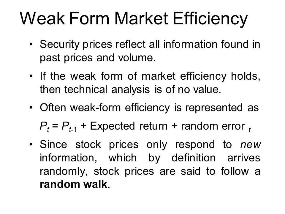 the weak form efficiency of the gcc 1 chapter 5 technical analysis and weak form market efficiency a technical analysis for stock technical analysis is concerned with the examination of historical.