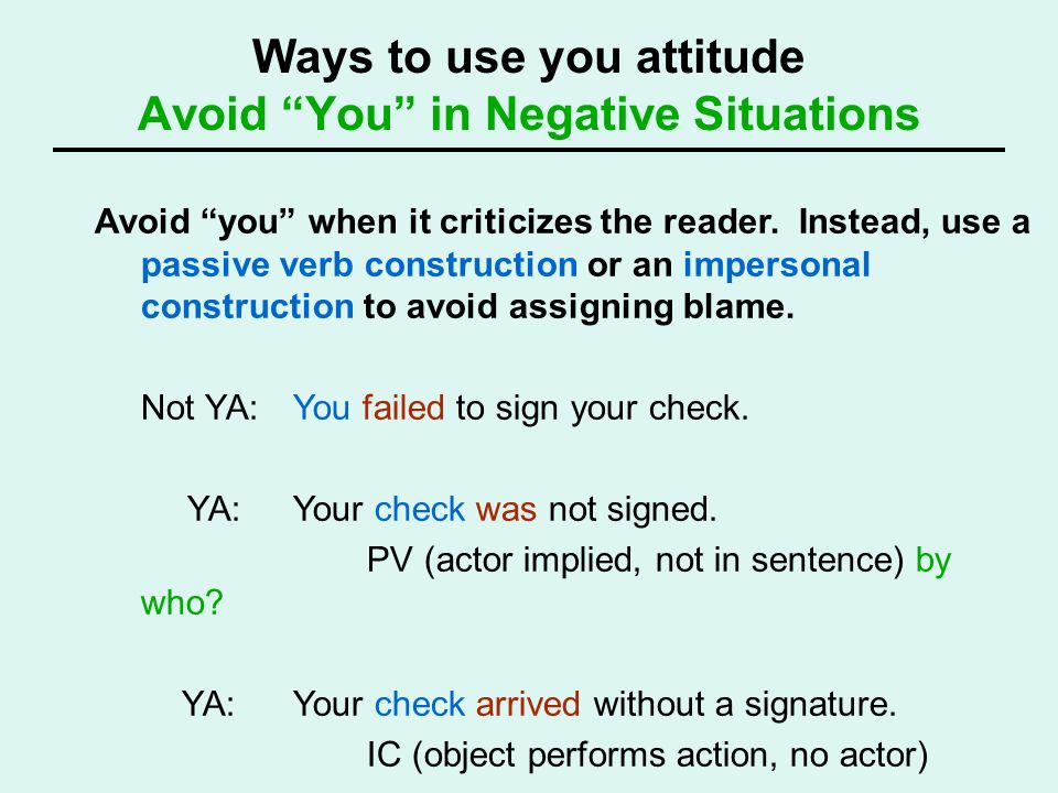 Ways to use you attitude Avoid You in Negative Situations