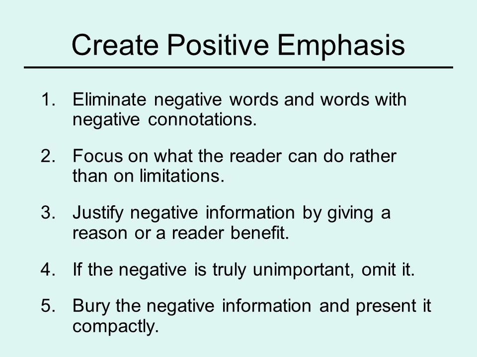 Create Positive Emphasis