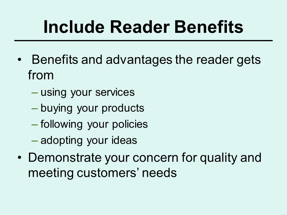 Include Reader Benefits