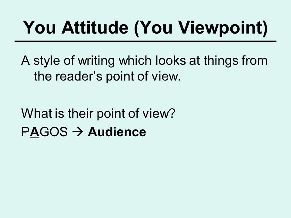 You Attitude (You Viewpoint)