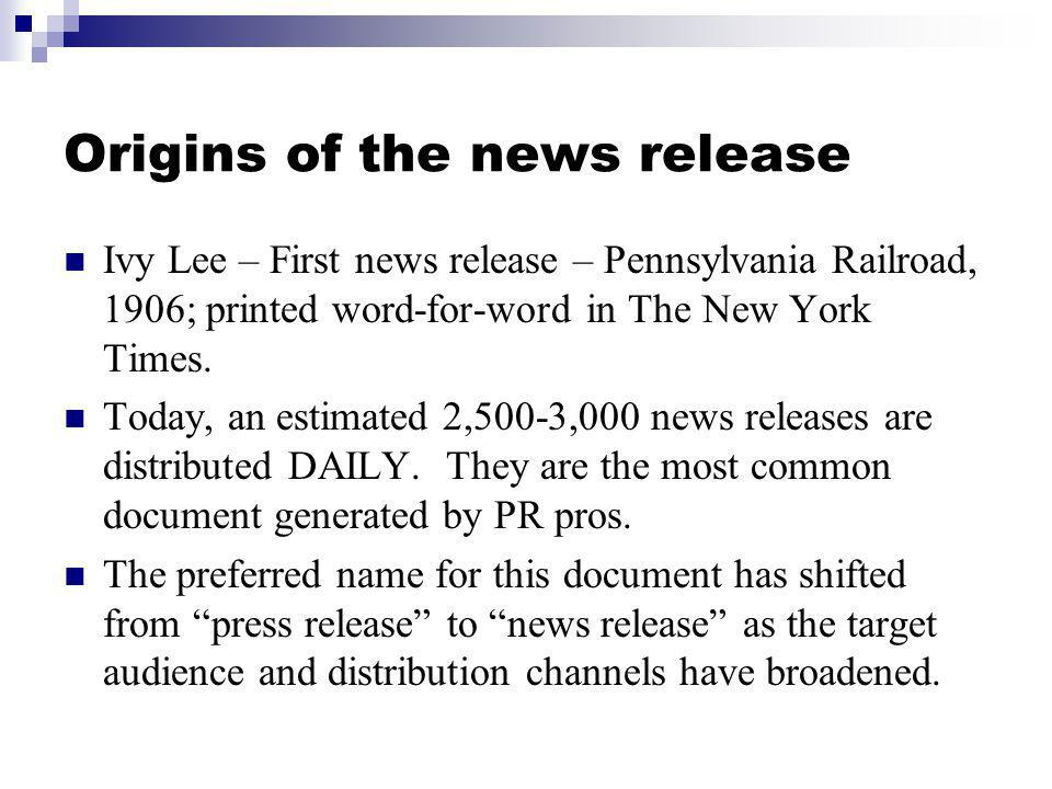 Origins of the news release