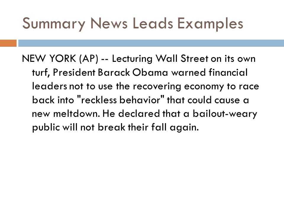 Summary News Leads Examples