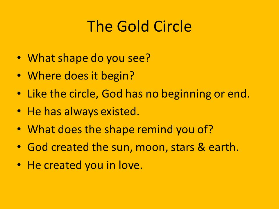 The Gold Circle What shape do you see Where does it begin