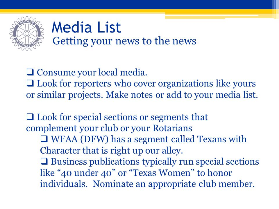 Media List Getting your news to the news Consume your local media.