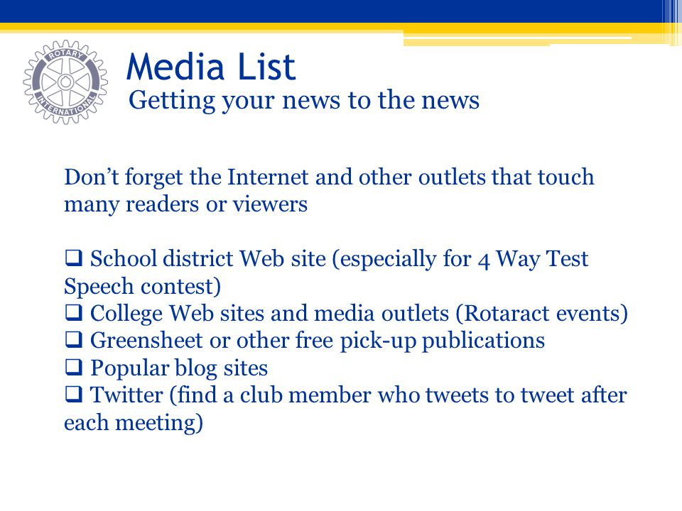 Media List Getting your news to the news