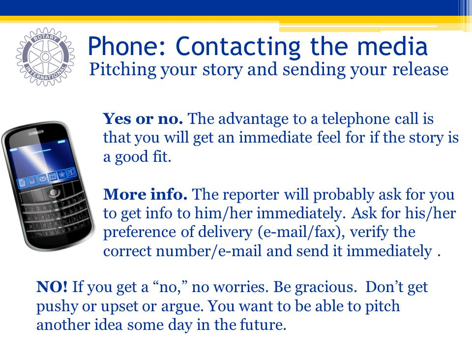 Phone: Contacting the media