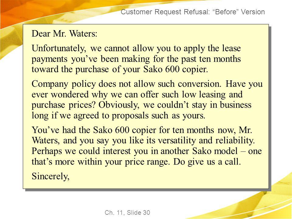 Customer Request Refusal: Before Version