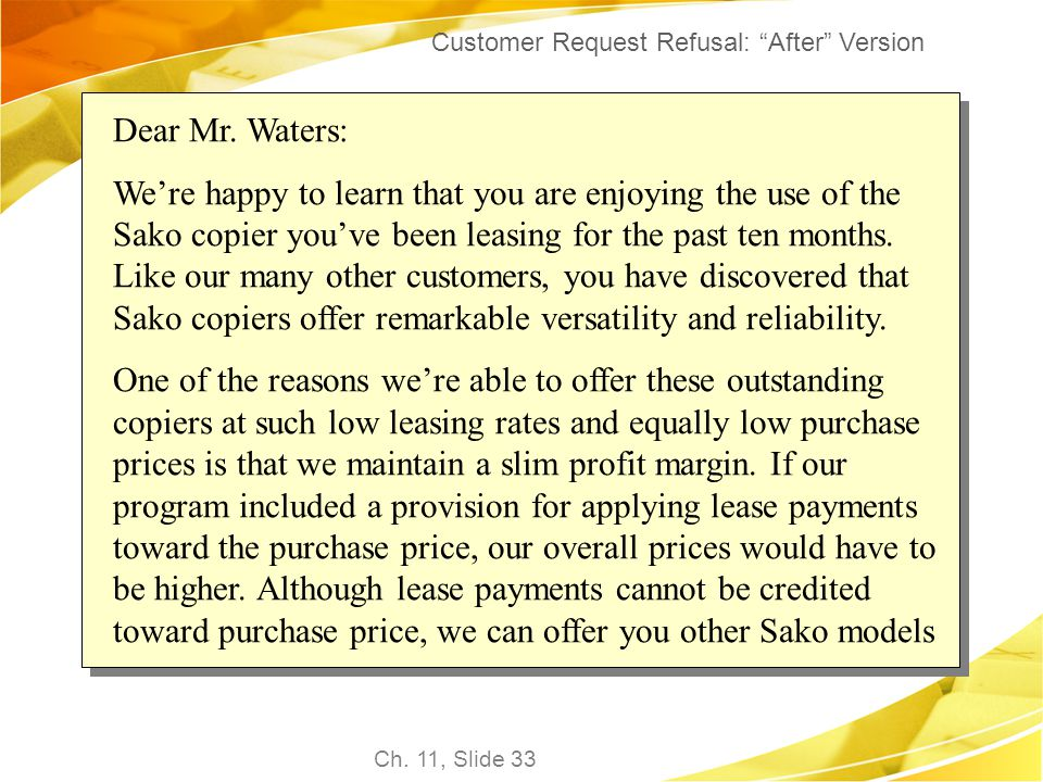 Customer Request Refusal: After Version