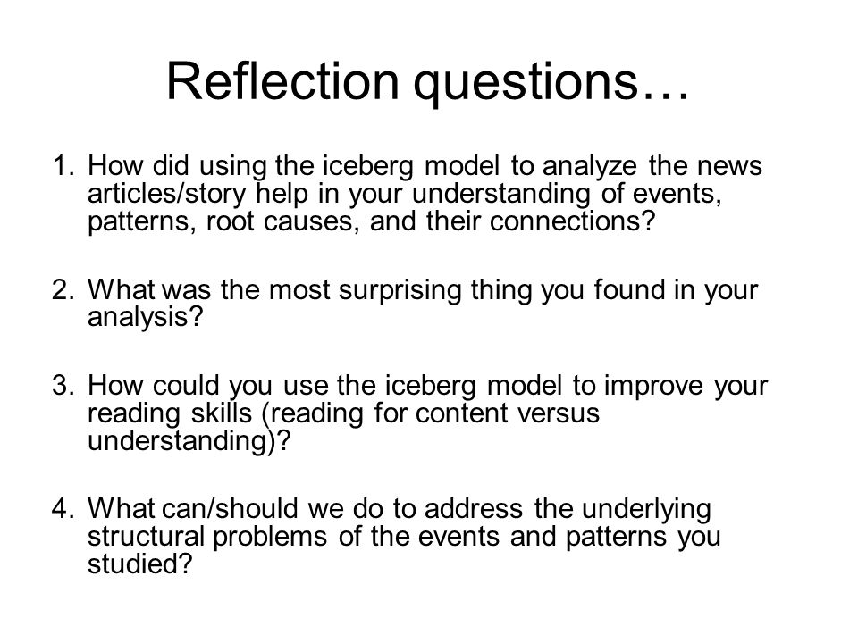 Reflection questions…
