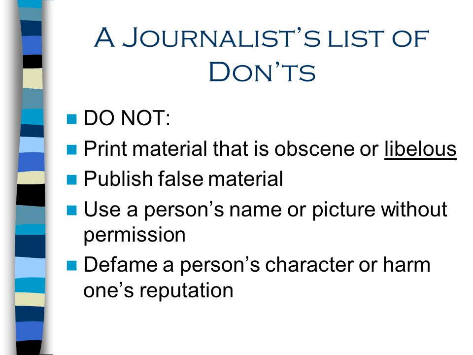 A Journalist's list of Don'ts