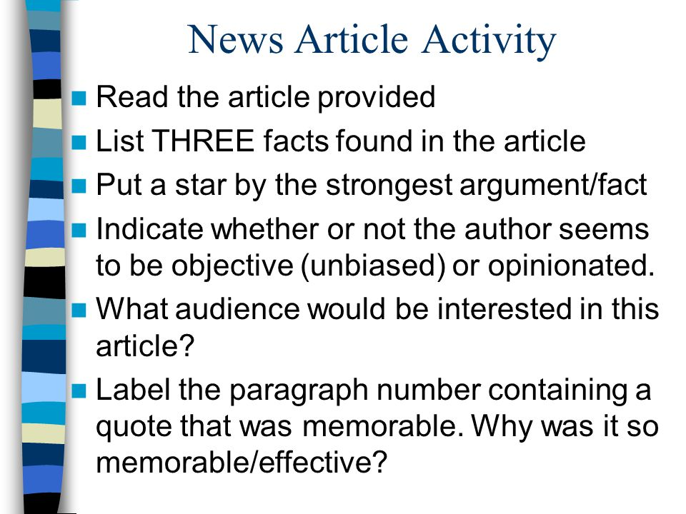 News Article Activity Read the article provided