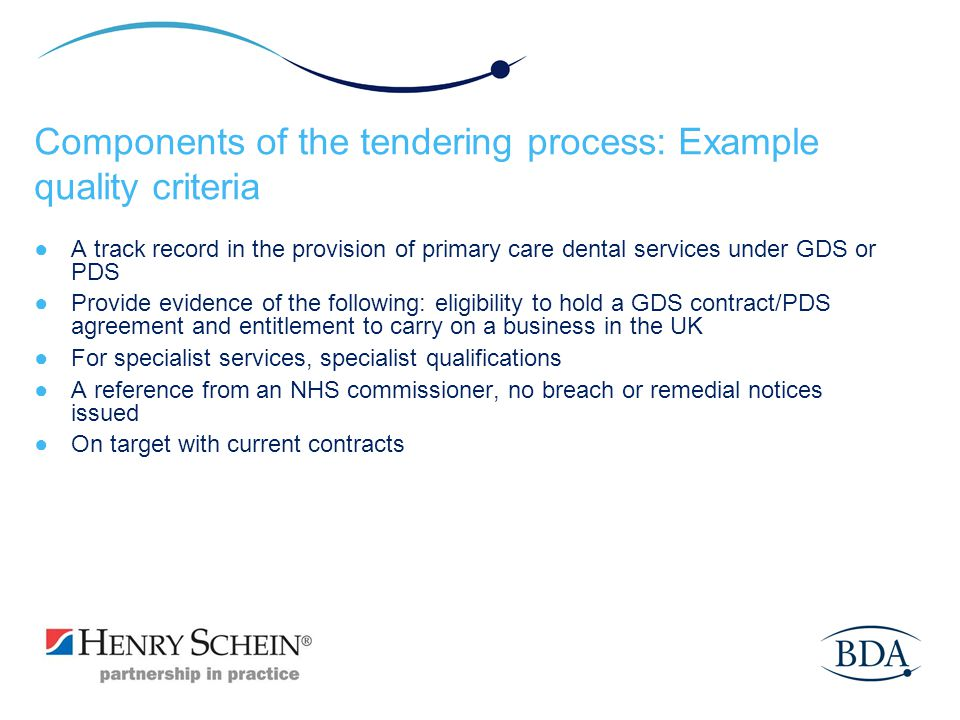 Components of the tendering process: Example quality criteria