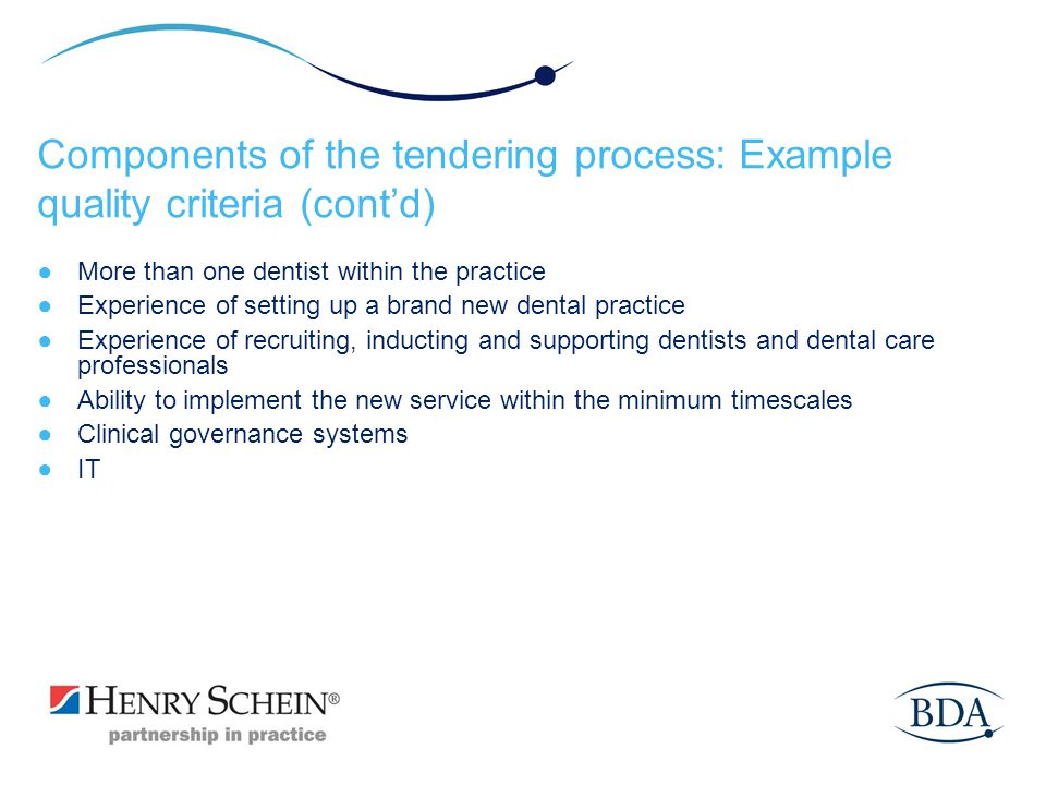 Components of the tendering process: Example quality criteria (cont'd)