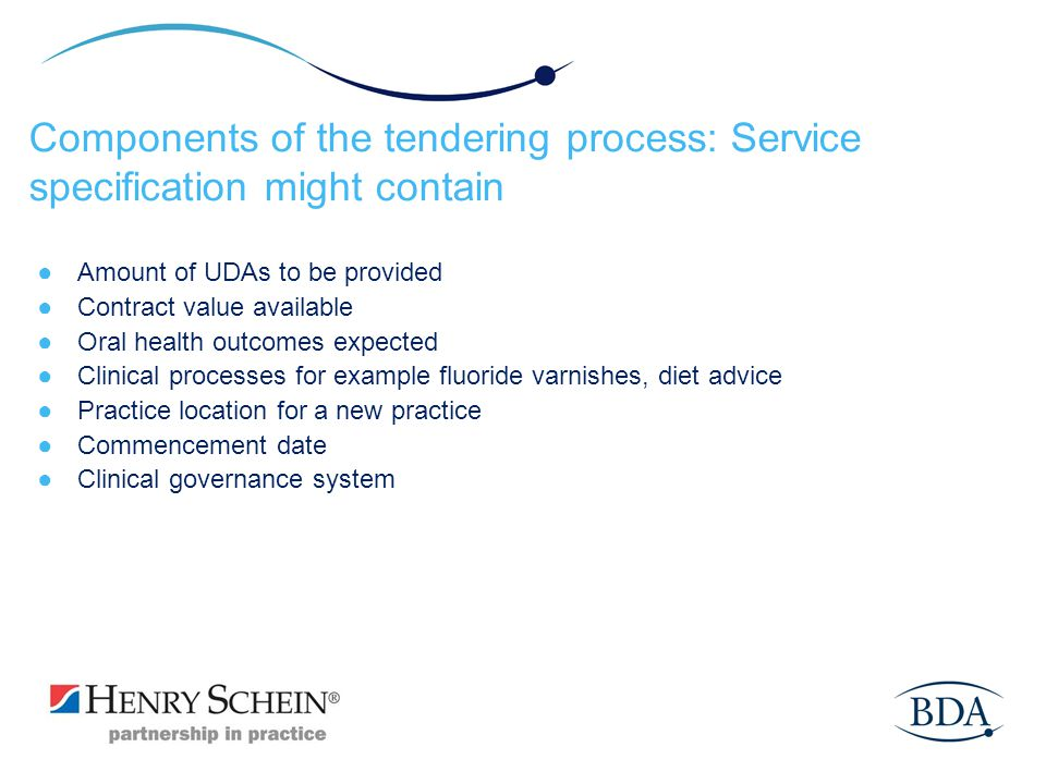 Components of the tendering process: Service specification might contain