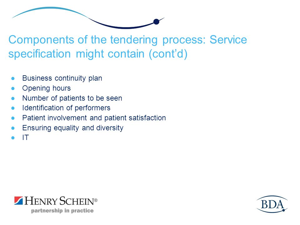 Components of the tendering process: Service specification might contain (cont'd)