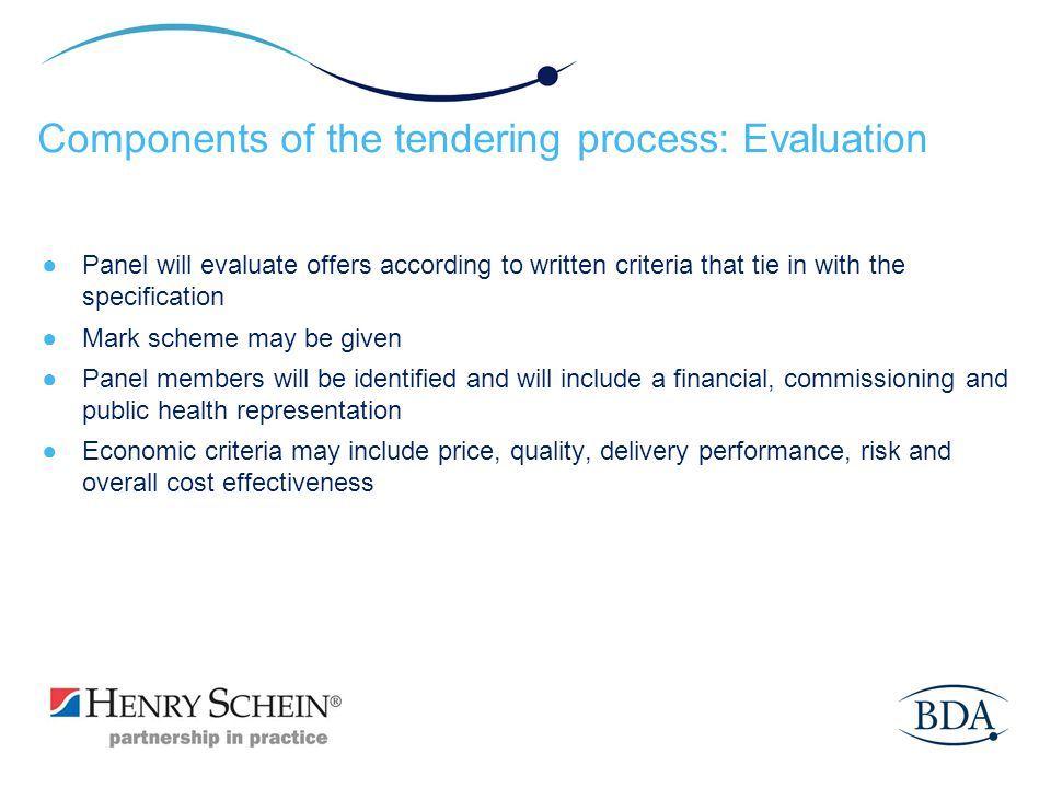 Components of the tendering process: Evaluation