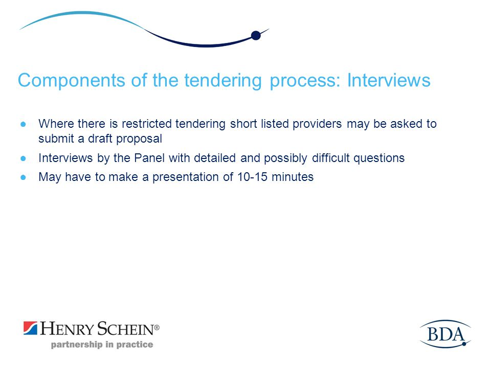 Components of the tendering process: Interviews