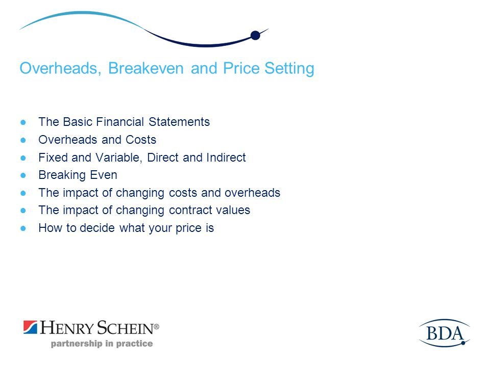 Overheads, Breakeven and Price Setting