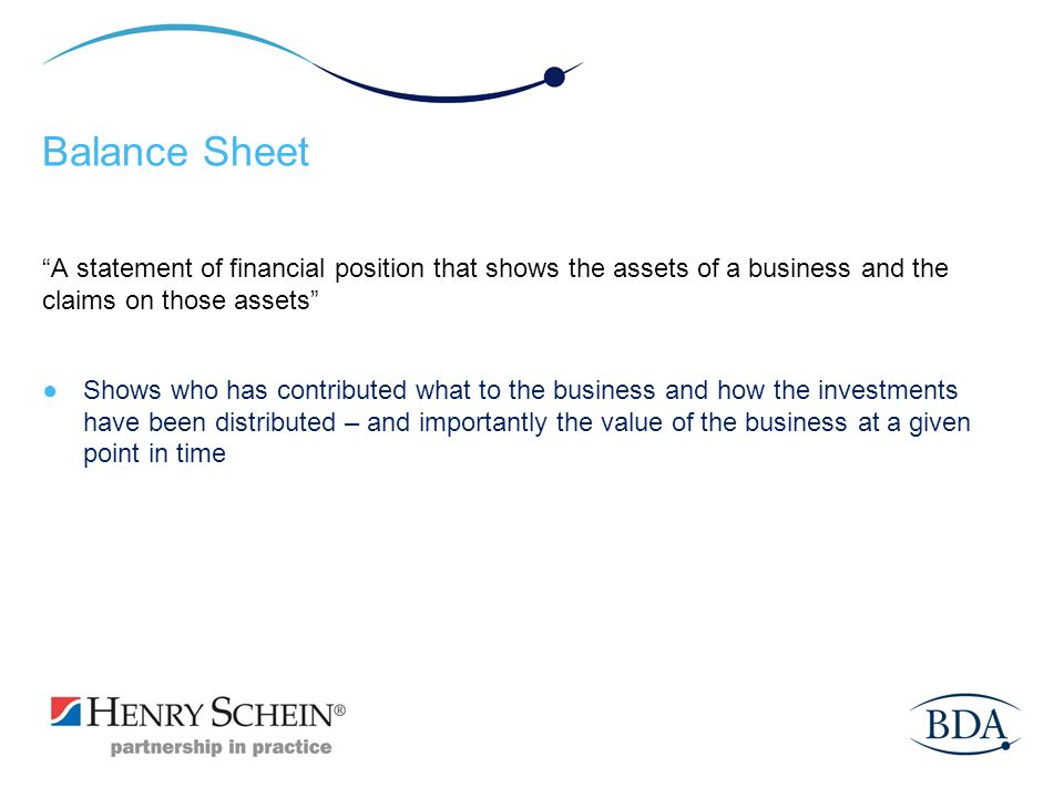 Balance Sheet A statement of financial position that shows the assets of a business and the claims on those assets