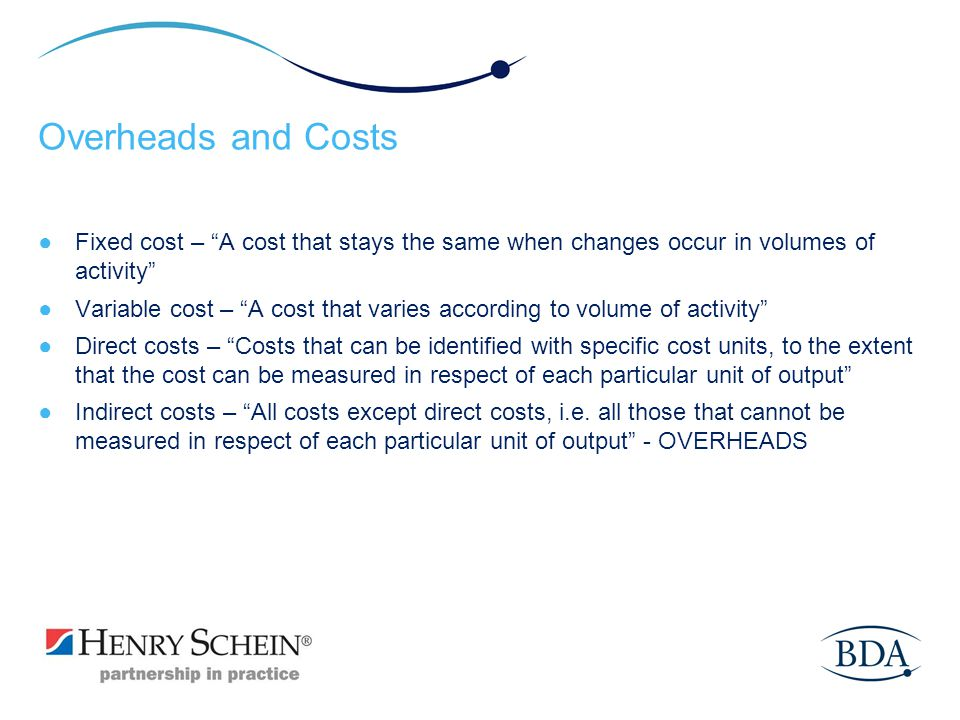 Overheads and Costs Fixed cost – A cost that stays the same when changes occur in volumes of activity