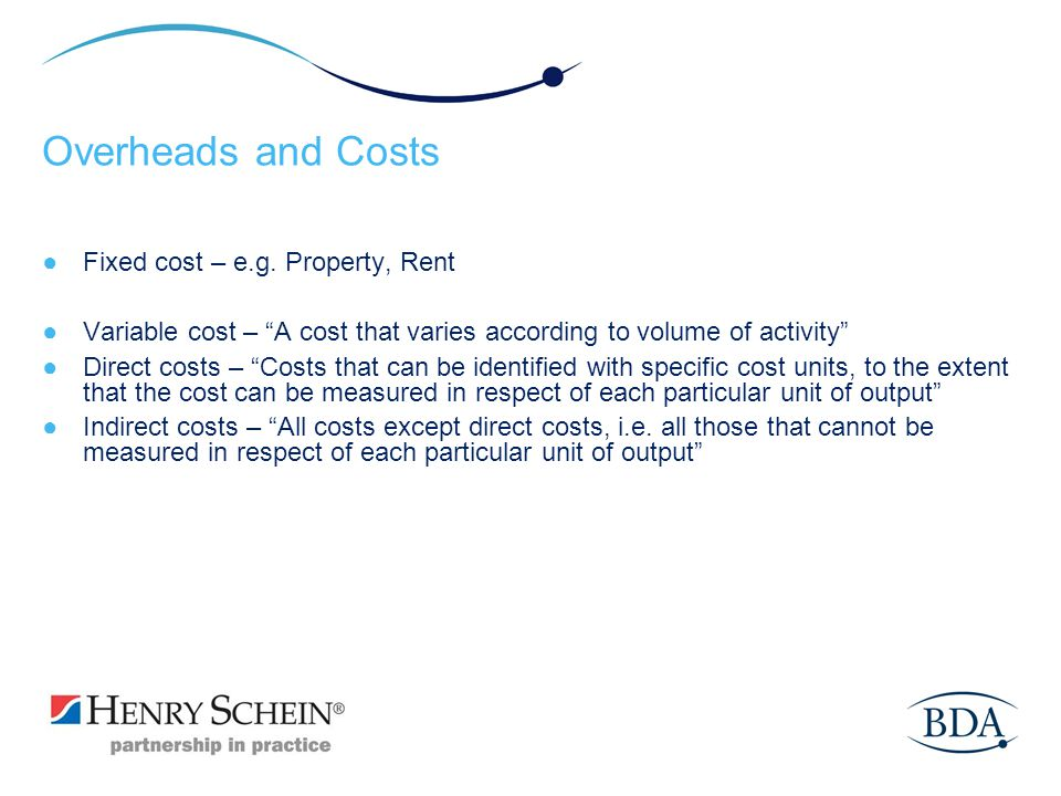 Overheads and Costs Fixed cost – e.g. Property, Rent