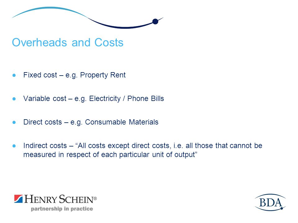 Overheads and Costs Fixed cost – e.g. Property Rent